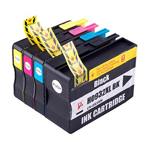 Set von 4Kompatibel Schwarz/Cyan/Gelb/Magenta Multipack Druckerpatronen Ersatz für Hp 932X L Schwarz und 933X L. CN053AE CN054AE CN055AE und CN056AE