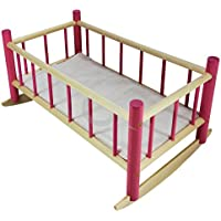 """NEW LARGE WOODEN PINK ROCKING BED COT Fits Up to 50cm 19"""" Doll (rocking bed only)"""