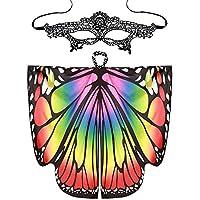 Xmiral Mujeres 2Pcs Mariposa Alas Chal con Mascara de Ojos Disfraz Bufandas para Niñas Traje para