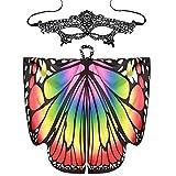 Xmiral Mujeres 2Pcs Mariposa Alas Chal con Mascara de Ojos Disfraz Bufandas para Niñas Traje para Fiesta Carnaval