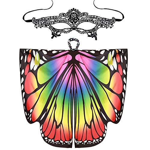 al Kostüm Faschingskostüme Kinder Mädchen Kostüm Butterfly Wing Cape Schmetterlings flügel Erwachsene Kimono Schal Cape Tuch Butterfly Wings Cape + Spitze Augenmaske (A) ()