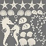 GRAZDesign Wandtattoo Muscheln für Bad Selbstklebende Klebefolie für Wände - Fliesen - Spiegel Wandaufkleber als Set mit 20 unterschiedlichen Seesternen -Seepferdchen (57x57cm // 816 Antique White)