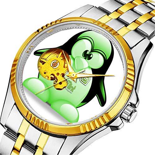 enuhr Klassische mechanische Uhr Timeless Design Mechanic (Gold) 734.Linux Mint Logo mit Tux Wrist Watch ()