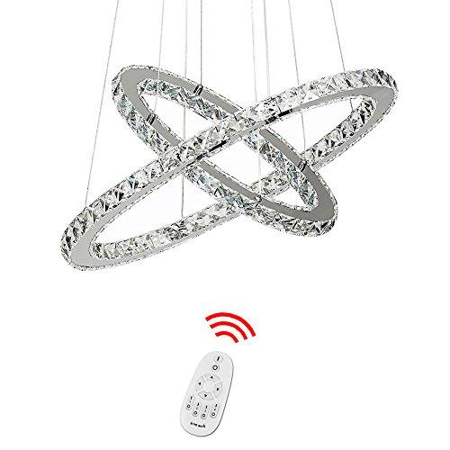 HJ® 78W 2 Ringe LED Deckenleuchte Kristall Dimmbar Deckenlampe Wohnraum Hängeleuchte Pendelleuchte Mit Fernbedienung Wohnzimmer Deckenleuchte Kristall Schlafzimmer Hängelampe kaufhaus Esszimmer Modern