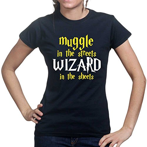 Muggle In The Streets Wizard in The Sheets Funny Magic Ladies Womens T Shirt