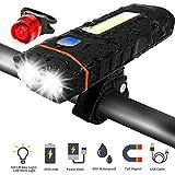 Fukkie LED Fahrradlicht Set - Wiederaufladbare Fahrradbeleuchtung mit 2 x 500 LM, 5 Lichtmodi, 4000 mAh, Powerbank und Arbeitsleuchte, Wasserdicht Frontlicht für dunkle Straßen, Radfahren und Camping