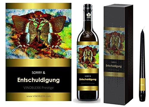 ENTSCHULDIGUNG. 1er Geschenkset KLASSIK Rotwein. Ein Geschenk mit Stil & Prestige in Golddruck das jeden begeistert. Hochwertiger Qualitätswein. Verschiedene Etiketten-Designs, aktuell: Schmetterling