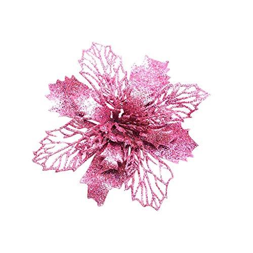 SuperSU 5 Stück Kunstblumen Christbaumschmuck, künstliche Weihnachtsblumen, Weihnachtsschmuck, Unechte Blumen für Hausgarten Zeremonie Hochzeit Blumendekor -