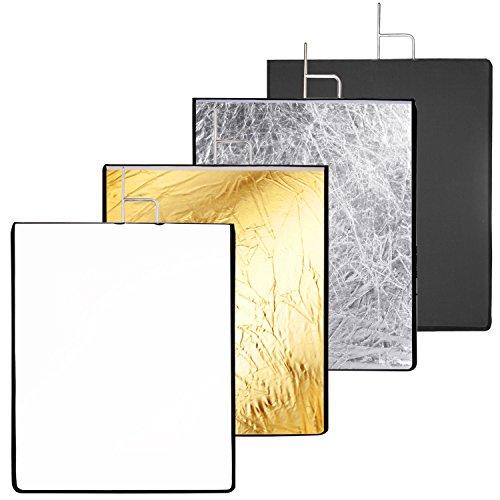 Neewer 17,7x23,6 Zoll / 45x60 Zentimeter 4-in-1 Metall Flaggen Panel Set Reflektor mit weichen, weißen, schwarzen, silbernen und goldenen Abdeckung Tuch für Foto Video Studio Fotografie
