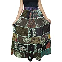 Women A-Line Skirt Patchwork Brown Rayon Vintage Gypsy Fashion Flare Skirts S/M