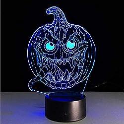 IMEHW Ilusión 3D Calabaza De Halloween, 7 Colores Graduales Lámpara Cambiante Luz De Noche Mesa Escritorio Deco Lámpara Hogar Decoraciones De Dormitorio