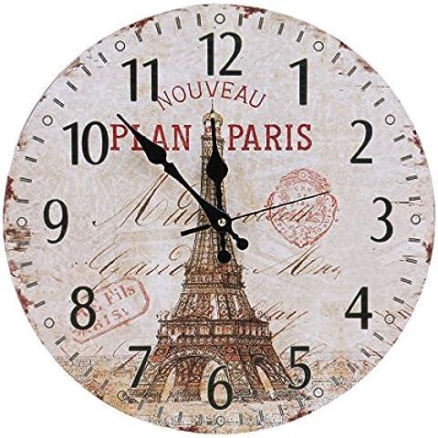 WINOMO Orologio da Parete Quarzo Silenzioso Vintage Torre Eiffel Decorazione 34cm - Radiocontrollato Orologio Da Parete Analogico