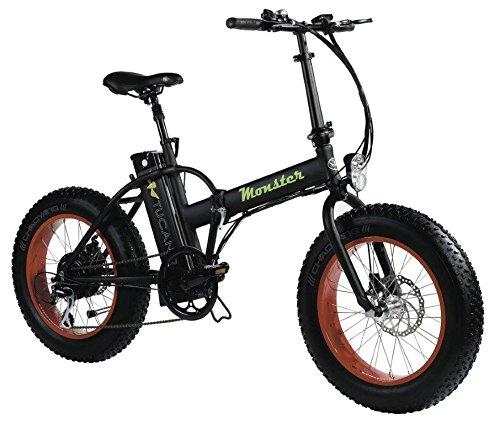 Monster 20 - Bicicleta Eléctrica Plegable - 20 Pulgadas - Motor 500W, 48V-12ah - Display LED con 9 Niveles de Ayuda - Chasis en Aluminio (Negro)