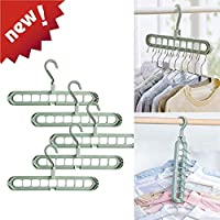1Easylife 5 PCS Magic Clothes Hanger Organizer, Rotate Anti-skid Folding Hanger, Standard Hangers with 9 Holes, Space Saving & Cascading Features for Heavy Clothes, Shirts Pants Dresses