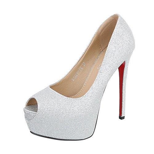 Ital-Design Peep Toe Damen-Schuhe Peep-Toe Pfennig-/Stilettoabsatz High Heels Pumps Silber, Gr 36, B1321H-Pb-