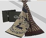 Hommes de grande écharpe 30 * * * * * * * * 180 cm, motif cheval et Deer, en laine d'agneau Cachemire soie mélange foulard, châle Deer Pattern 1