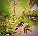 Visons of Energy Gemälde 'Singvogel auf Bambusast' 40x40cm | original handgemalte Bilder | Naturalistisch grün weiß Vogel | Leinwand-Bild Acrylgemälde einteilig groß | Schönes Kunst Acrylbild