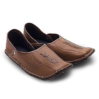 Ethnic Arts Men Rajasthani Ethnic Juti Tan Leather Mojari Shoe 201 - 10