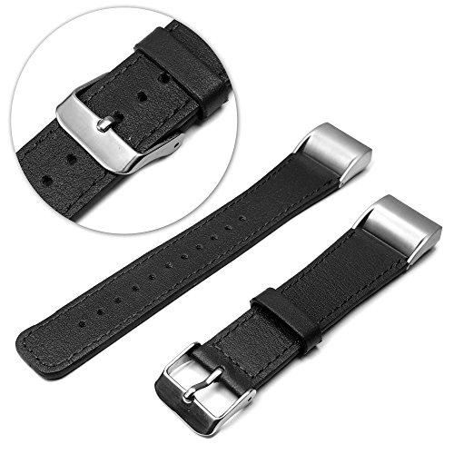 tuff-luv-fitbit-charge-2-en-cuir-veritable-bracelet-wristband-noir