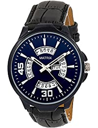 Matrix Silvermine Analog Blue Dial Wrist Watch Day And Date Display For Men & Boys- DD-BL-LTH