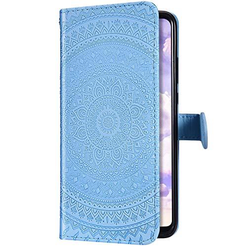 Uposao Kompatibel mit Samsung Galaxy A5 2017 Hülle Leder Schutzhülle Mandala Blumen Motiv Muster Brieftasche Handyhülle Klapphülle Handytasche Flip Lederhülle Leder Tasche Etui Case,Blau