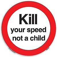 Matar a su velocidad, no un niño ronda adhesivo pegatinas–5unidades [200mm x 200mm]