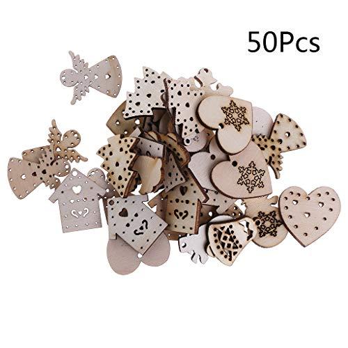 Yangfr 50 discos de madera cortados con láser, adornos de estilo navideño,...