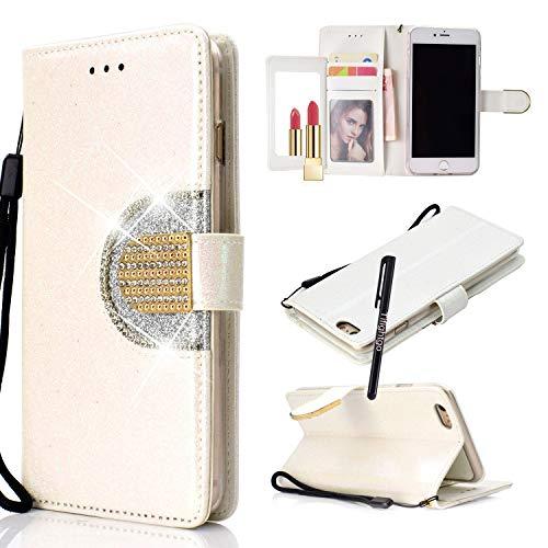 Tifightgo iPhone 7 Plus Handyhülle Glitzer,Strass Glänzend Bling Glitter Diamant Make-up Mirror Spiegel Leder Case Weiß Hülle Flip Brieftasche Schutzhulle für Apple iPhone 8 Plus/7 Plus 5.5 Zoll Bling Strass Case