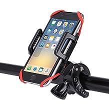 GHB Soporte de Móvil para Bicicleta Motocicleta Universal para Smartphone Iphone Dispositivos GPS Negro y Rojo