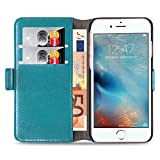 JAMMYLIZARD Lederhülle für iPhone 8 Plus, iPhone 7 Plus | Handyhülle [ Luxuriöse Tasche Series ] Ledertasche Flip Case Cover Hülle mit Kartenfach Leder Schutzhülle, Türkis