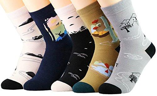 Neuheit Socken Baumwolle Crew Einhorn Eule Katze Bauernhof Prinzessin Meerjungfrau Socken - Cartoon Tier Socken - 5 Pack Weihnachtssocken Geschenkbox (japanische Dorfgeschichte)