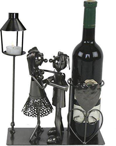 Michel Toys Flaschenhalter Tanzpaar mit Laterne für Teelicht, Kerze, Metall, Silber,