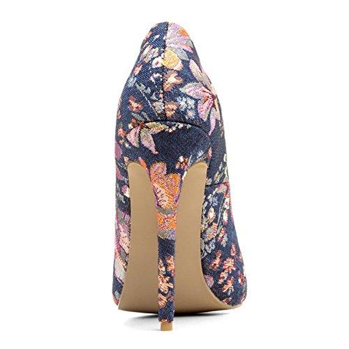 Donna Sexy Stiletto alto Tacchi Scarpe ricamato Chiuso appuntito Dito del piede pompe Lavoro Inteligente Vestito Dimensione 35-44 Blue