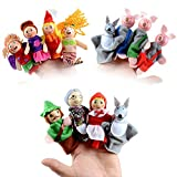 12 PCS Fairy Tale Finger Puppets - Finger Toys for Kids: The Mermaid Princess, Three Little Pigs and Little Red Riding Hood