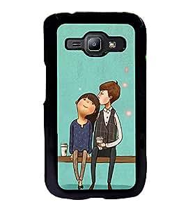 Fuson Designer Back Case Cover for Samsung Galaxy J1 (2015) :: Samsung Galaxy J1 4G (2015) :: Samsung Galaxy J1 4G Duos :: Samsung Galaxy J1 J100F J100Fn J100H J100H/Dd J100H/Ds J100M J100Mu (lovely couple table cups love lovers)