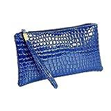 Damen Geldbörse Leder Elegant Portemonnaie,Rosennie Damen Geldbörse Luxus Brieftaschen Für Frauen Groß Kapazität,Portemonnaie mit Reißverschluss,Krokodilleder Clutch Handtasche Tasche (Blau)