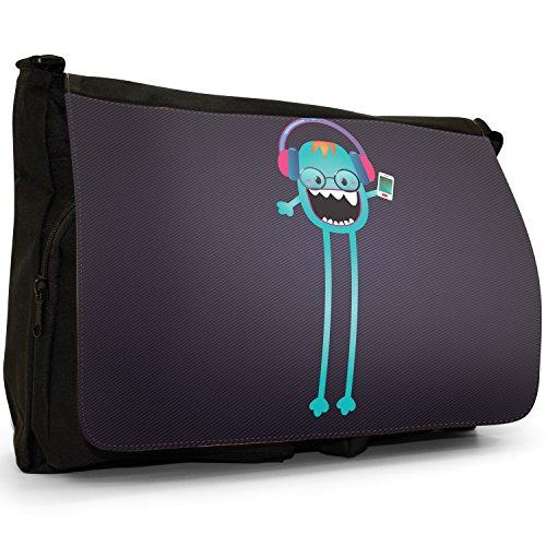 Funny Freak Hipster Trendy-grande, colore: nero Monsters-Borsa di tela a tracolla, per scuola, Borsa per computer portatile Nero (Skinny Leg Music Mad Monster)
