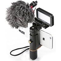 Estabilizador movil Smartphone Video Rig Mouriv soporte steady iphone Cinematografía Grabación Estabilizador de agarre de mano Vlogging con mini micrófono cardioide, Video LED de luz, de aluminio sólido Cold Shoe Extension Bar