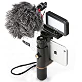 Smartphone Video Rig ,Mouriv iPhone Filmmaking Kit Recording Vlogging Hand Grip Stabilizer With Mini Cardioid Microphone ,Video LED Light, Solid Aluminum Cold Shoe Extension Bar