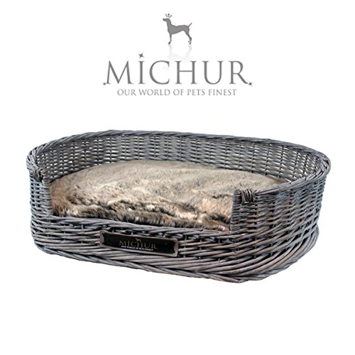 Rattan Large Dog Bed Basket With Pillow, Dark Grey