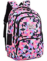 Fanci Geometric Prints Primary School Student Satchel Backpack for Girls  Waterproof Preppy Schoolbag c6351329c00c8