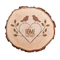Idea Regalo - Casa Vivente Fetta di Tronco d'Albero con Corteccia - Incisione Passeri - Home Is Where The Heart Is - Centrotavola - Decorazioni da Parete - Soprammobili in Legno - Idee Regalo Romantiche