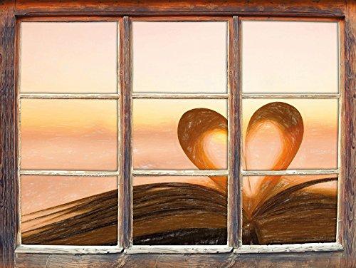 Das Herz aus einer Buchseite Kunst Buntstift Effekt Fenster im 3D-Look, Wand- oder Türaufkleber...