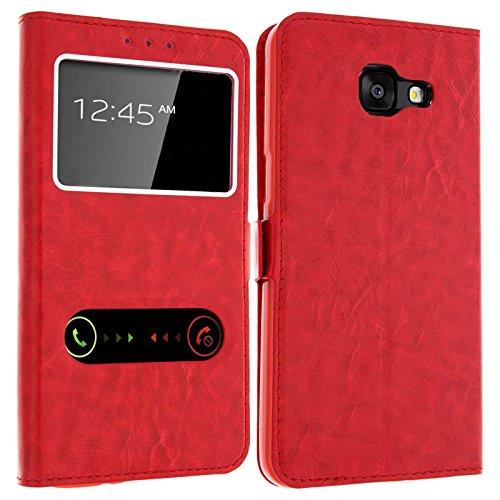 gemtoo Optimus-Cover Astuccio con FINESTRE per Samsung Galaxy A5 2017 -Diversi Colori Disponibili - (Rosso)