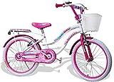 "kidfun Bicicletta per Ragazza 20"" Regina Fashion Girl Bianca"