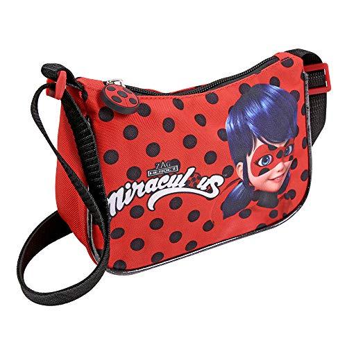 Perletti borsa a tracolla ladybug per bambina - borsetta regolabile bimba rossa con pois neri coccinelle - miraculous le storie di lady bug e chat noir - 14x19x6,5 cm