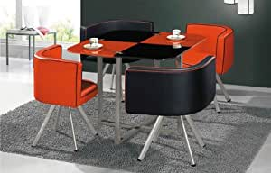 Black And Red Glass Dining Table And 4 Chairs Space Saver
