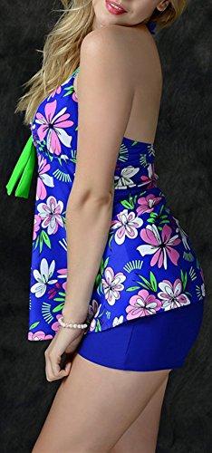 NewShine Damen Badeanzug / Badekleid Sexy Zweiteiler Plus Size Saphirblau