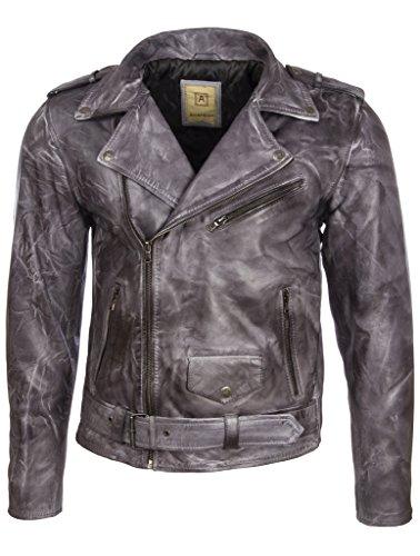 Aviatrix Herren Bikerjacke mit Gürtel aus echtem Rindsleder oder echtem Schaffell (N2KG)- Gr. 50 (Brust=50 zoll), Ghost Schaffell Leder Ghost Leder