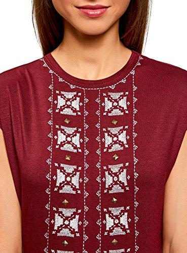 oodji Ultra Donna T-Shirt con Scollo Rotondo e Ricami Decorativi Rosso (4912P)